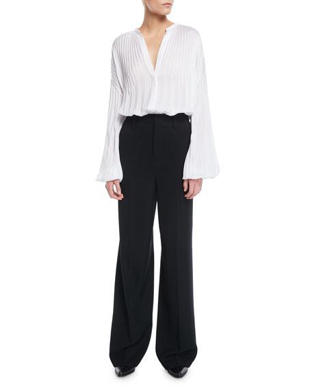 Pleated V-Neck Blouson-Sleeve Blouse
