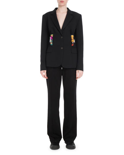 Two-Button Embroidered-Rope Crepe Jacket  and Matching Items