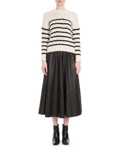 Crewneck Striped Cable-Knit Wool Sweater and Matching Items
