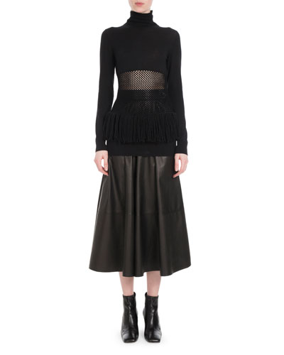 Turtleneck Mesh-Waist Fringe-Hem Wool Sweater and Matching Items