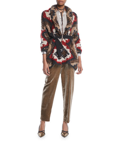 Shawl-Collar Paillette Cashmere-Blend Cable-Knit Cardigan  and Matching Items