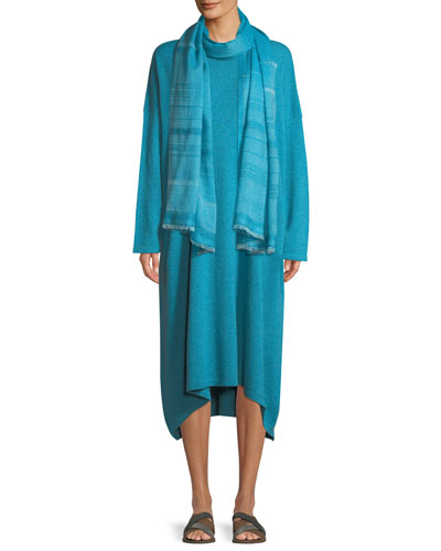 Smaller Front Larger Back Long-Sleeve Cashmere Dress and Matching Items