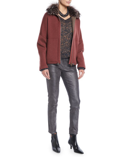 Fox-Fur Collar Zip-Front Cashmere Jacket  and Matching Items