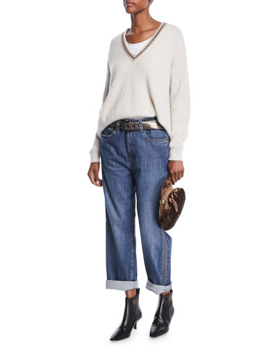 Monili Deep V-Neck Ribbed Cashmere Sweater and Matching Items