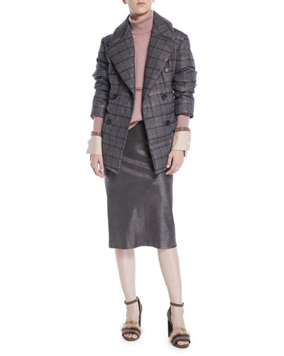 Pencil Skirt in Metallic Suede and Matching Items