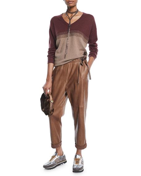 V-Neck Long-Sleeve Colorblock Knit Cashmere Sweater w/ Monili Stripe