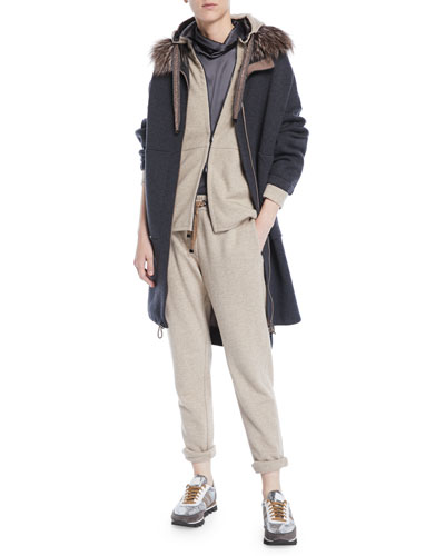 Double-Face Cashmere Long Zip-Front Coat w/ Fox Fur Trim and Matching Items