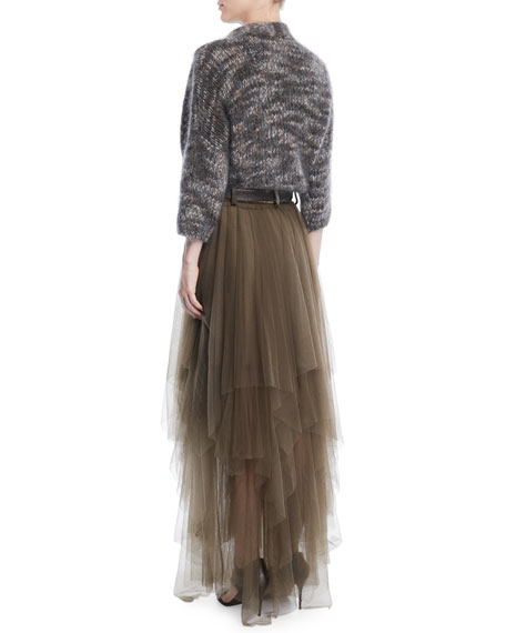 Mohair-Cashmere Tweed Cross-Front Cardigan