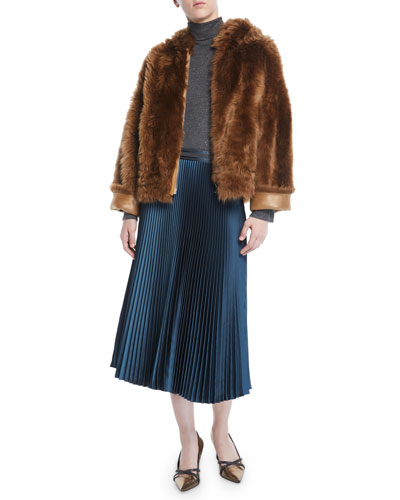 Zip-Front Reversible Sheep Fur/Metallic Chubby Jacket  and Matching Items