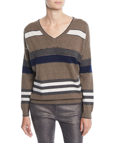 V-Neck 2-Ply Rugby-Stripe Cashmere Sweater w/ Paillettes and Matching Items