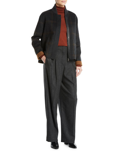 Joel Zip-Front Check Cashmere Short Jacket and Matching Items