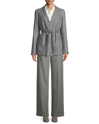 Jocelyn Button-Front Long-Sleeve Classic Silk Blouse and Matching Items