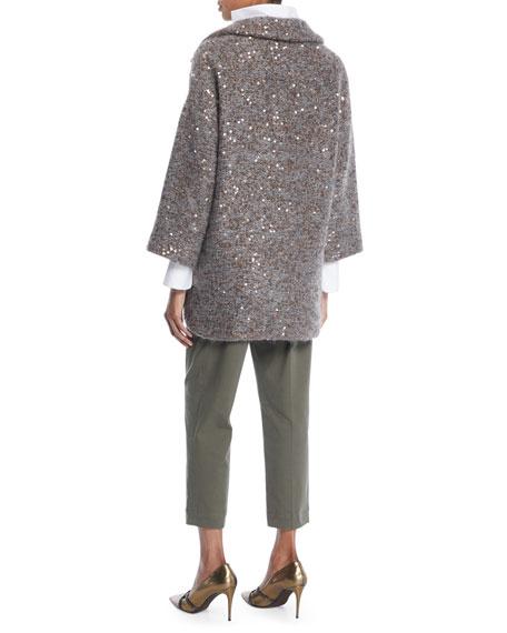 Tweed Paillette Knitted Jacket w/ Silk Lining