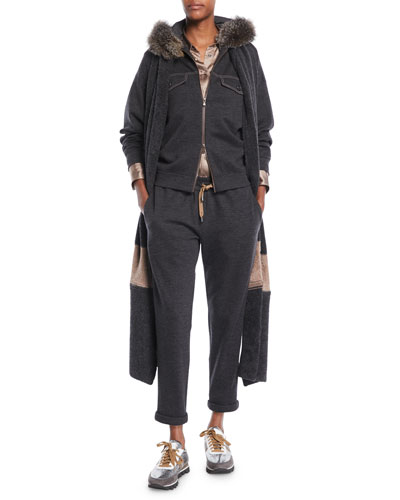Zip-Front Cashmere Hoodie Jacket w/ Fox Fur & Monili Pockets and Matching Items