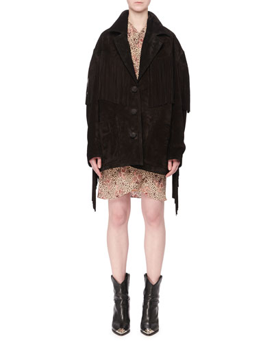 V-Neck Button-Front Fringe Suede Oversized Jacket and Matching Items