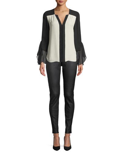 Margita Two-Tone Silk Blouse and Matching Items