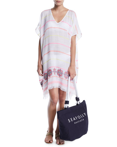 V-Neck Jacquard Coverup Kaftan w/ Fringe and Matching Items