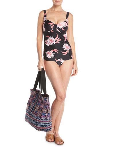 Desert Flower Ruched-Side Retro Swim Bikini Bottom and Matching Items