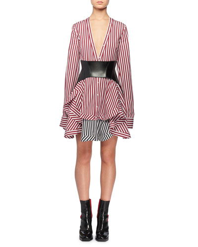 V-Neck Button-Front Long-Sleeve Striped Cotton Mini Dress w/ Contrast Hem and Matching Items