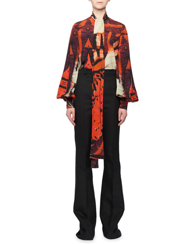 Tie-Neck Blouson-Sleeve Tiger Butterfly Print Silk Blouse and Matching Items