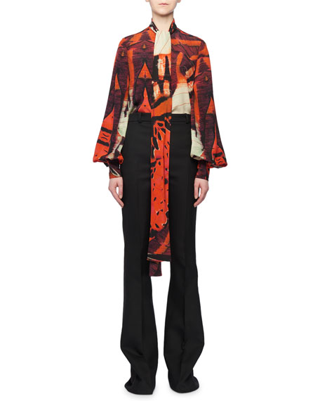Tie-Neck Blouson-Sleeve Tiger Butterfly Print Silk Blouse