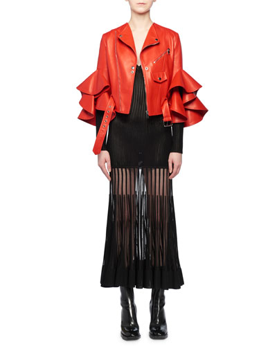 Ruffle Elbow-Sleeve Fitted Cropped Lambskin Leather Biker Jacket and Matching Items