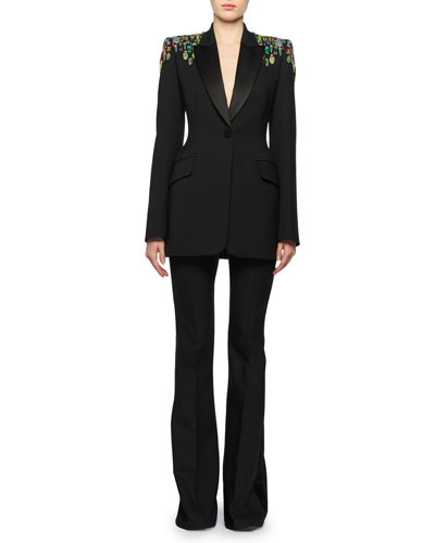 One-Button Embellished-Shoulder Lightweight Wool-Silk Tux Blazer and Matching Items