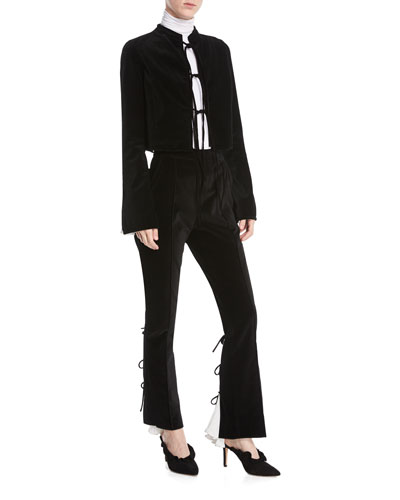 Tie-Front Bell-Sleeve Velvet Jacket w/ Pleated Insert Cuffs and Matching Items