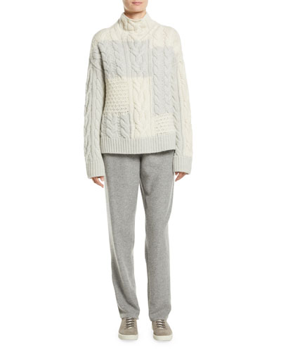 Turtleneck Colorblock Cable-Knit Cashmere Sweater and Matching Items