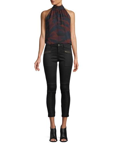 Erola B Sleeveless Camo-Print Silk Top and Matching Items