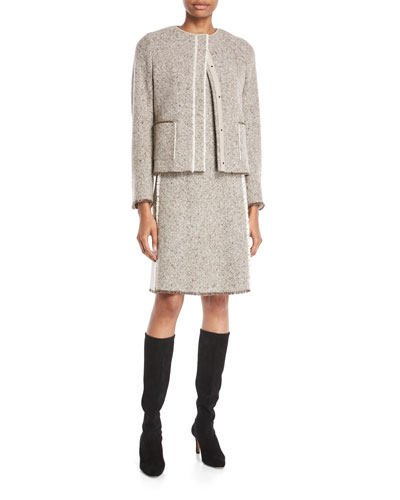 Snap-Front Wool-Silk Tweed Short Jacket w/ Fringe Trim and Matching Items