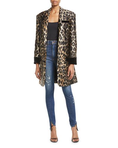 One-Button Leopard-Jacquard Knee-Length Coat and Matching Items