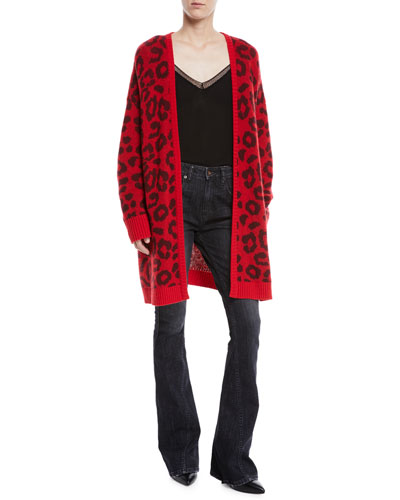 Open-Front Leopard-Print Long Cashmere Cardigan  and Matching Items
