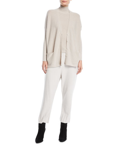 Mock-Neck Metallic-Knit Cashmere-Blend Shell  and Matching Items