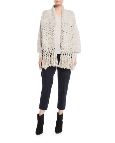 Chunky-Knit Wool-Blend Cardigan w/ Fringe Hem and Matching Items