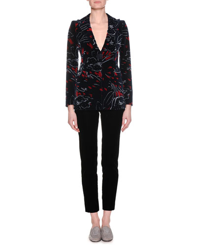 One-Button Abstract-Print Velvet Jacket and Matching Items