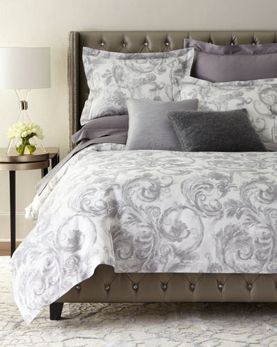 King Gray Scroll Duvet Cover and Matching Items