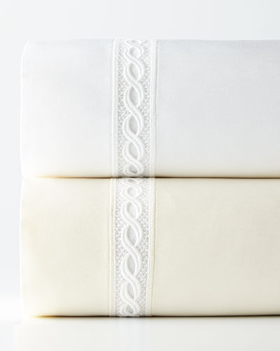 Two King 1,020 Thread Count Lace Sateen Pillowcases and Matching Items