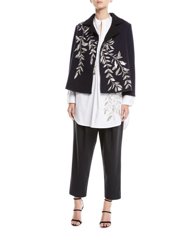 Fern-Embroidered Long-Sleeve Wool Jacket and Matching Items