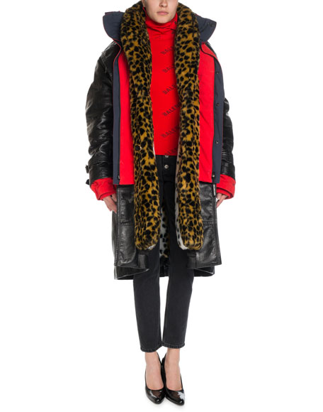 Layered Leather & Leopard-Print Hooded Trench Coat
