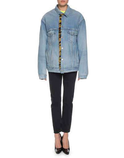Denim Twill Oversized Jacket w/ Animal-Print Faux-Fur Lining  and Matching Items