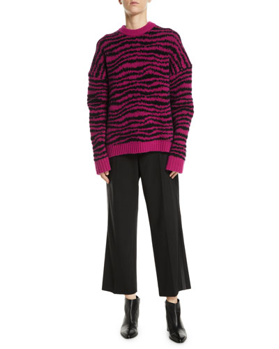 Crewneck Long-Sleeve Intarsia Knit Wool-Blend Sweater and Matching Items