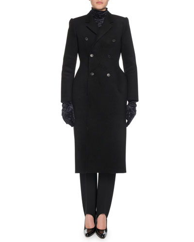 Double-Breasted Mixed-Wool Hourglass Coat  and Matching Items