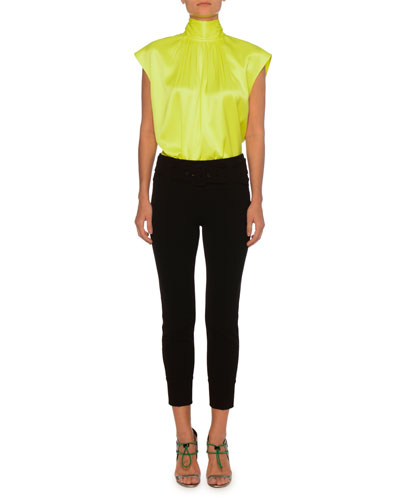 Sleeveless High-Neck Back-Bow Silk Top  and Matching Items