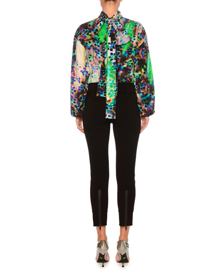 6f75a4b91ad7f3 Prada High-Neck Long-Sleeve Printed Silk Crepe de Chine Blouse and ...