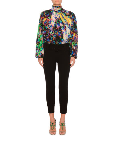 High-Neck Long-Sleeve Printed Silk Crepe de Chine Blouse and Matching Items