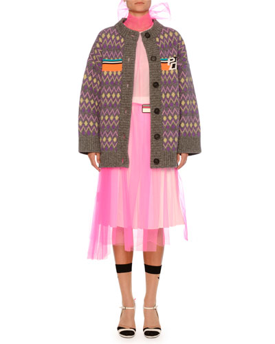 Knit Chevron Cardigan w/ Logo Chest  and Matching Items