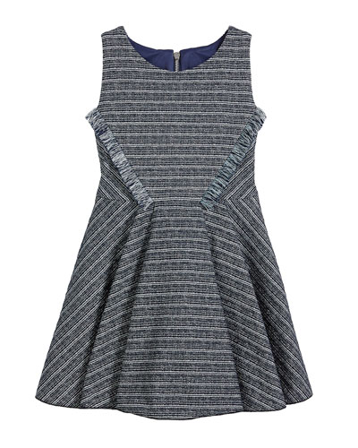 Mara Metallic Striped Fringe-Trim Swing Dress, Size 4-6X and Matching Items
