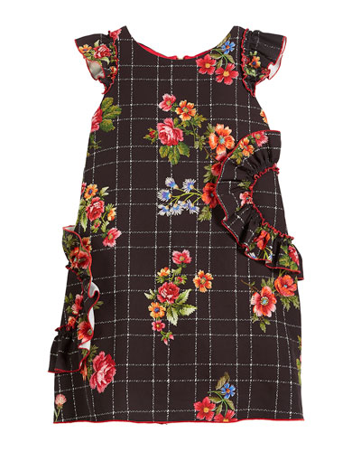 Blossom-Printed Ruffle-Trim Dress, Size 4-6X and Matching Items