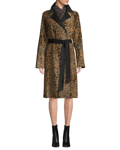 Kalena Leopard-Print Calf Hair Coat w/ Suede Combo and Matching Items